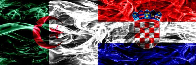 阿尔及利亚,阿尔及利亚人对克罗地亚,肩并肩被安置的克罗地亚烟旗子 概念和想法旗子混合 库存例证