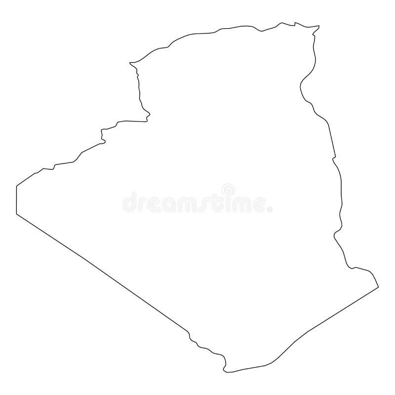 阿尔及利亚-国家区域坚实黑概述边界地图  简单的平的传染媒介例证 向量例证