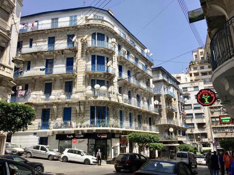 阿尔及尔,阿尔及利亚- 2018年10月1日:阿尔及尔阿尔及利亚的法国殖民地边  免版税图库摄影