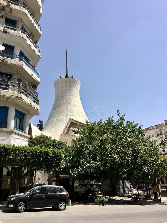 阿尔及尔,阿尔及利亚- 2018年5月5日:Cathedrale Sacre Cour阿尔及尔阿尔及尔耶稣圣心主教座堂是一天主教堂locat 免版税图库摄影