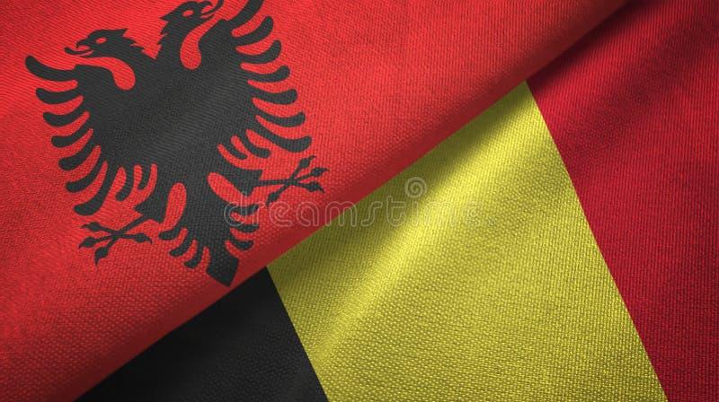 阿尔巴尼亚和比利时两旗子纺织品布料,织品纹理 皇族释放例证