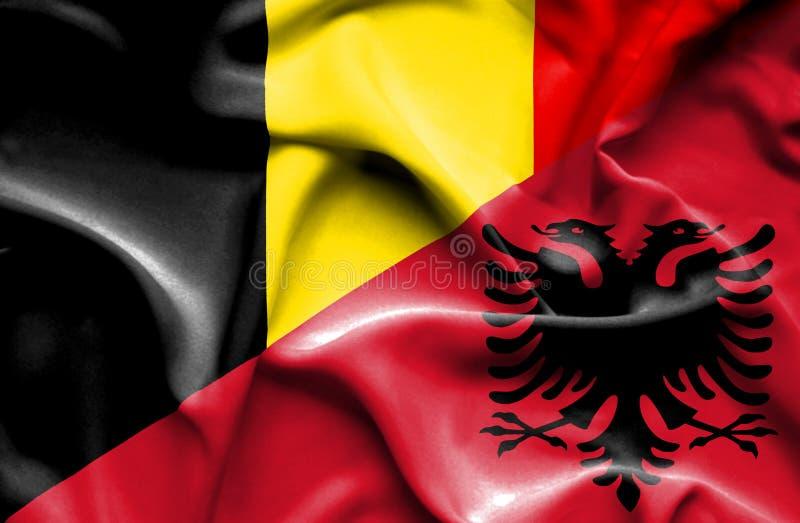 阿尔巴尼亚和比利时的挥动的旗子 库存例证