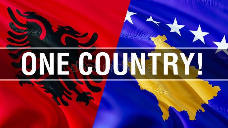 阿尔巴尼亚和科索沃旗子的一个国家 挥动的旗子设计,3D翻译 阿尔巴尼亚科索沃旗子,图片,墙纸,图象 兜风 皇族释放例证