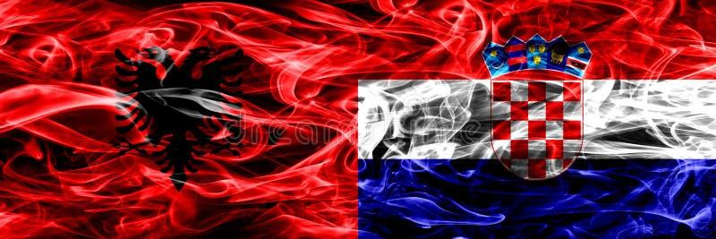 阿尔巴尼亚对克罗地亚,肩并肩被安置的克罗地亚烟旗子 阿尔巴尼亚语和克罗地亚,克罗地亚人的厚实的色的柔滑的烟旗子 库存例证
