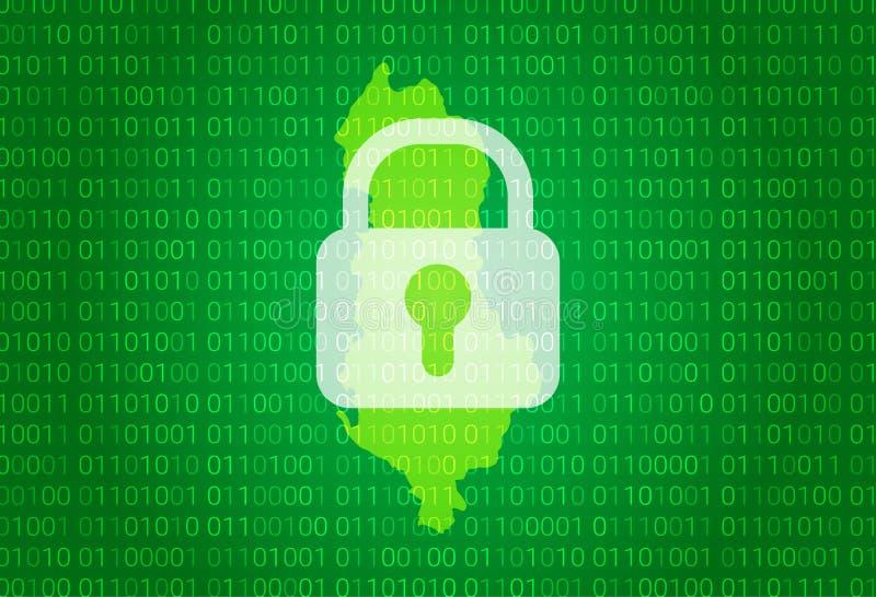 阿尔巴尼亚映射 例证有锁和二进制编码背景 阻拦的互联网,病毒攻击,保密性保护 库存例证