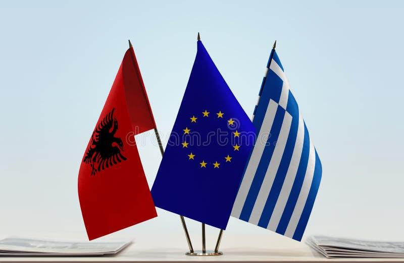 阿尔巴尼亚欧盟和希腊的旗子 免版税图库摄影