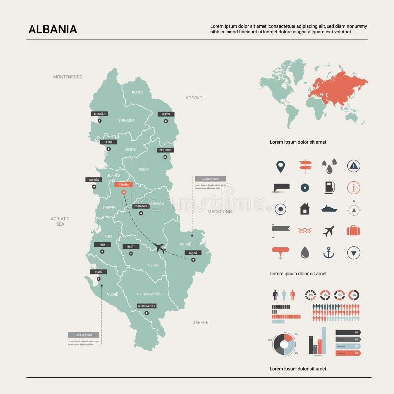阿尔巴尼亚的传染媒介地图 与分裂、城市和首都地拉纳的高详细的国家地图 政治地图,世界地图, 库存例证