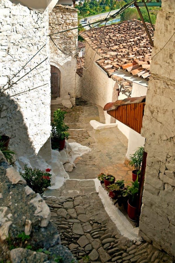 阿尔巴尼亚berat鹅卵石街道 免版税图库摄影