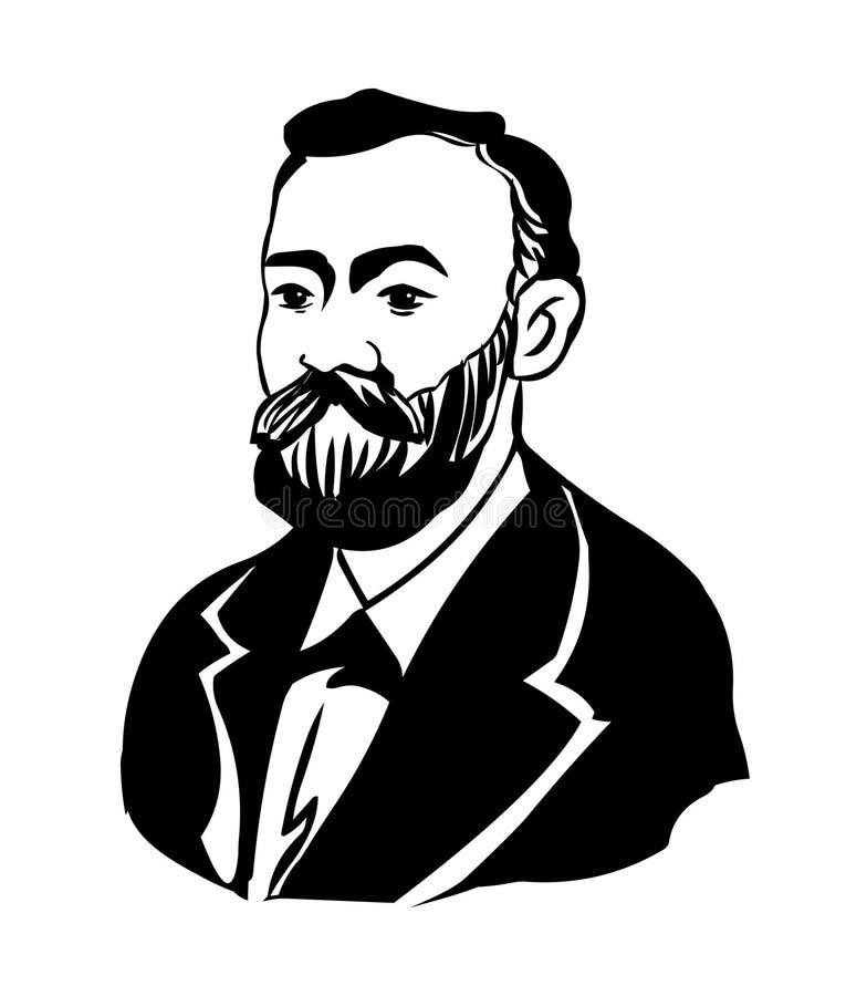 阿尔弗莱德・诺贝尔 阿尔弗莱德贝恩哈德诺贝尔传染媒介画象  向量例证