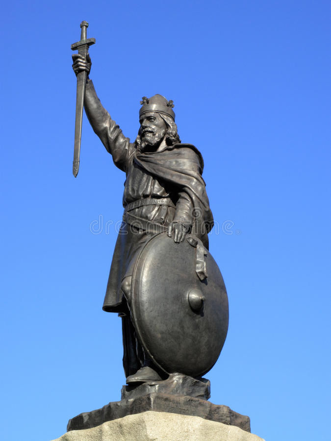 阿尔弗莱德极大的国王雕象 库存图片