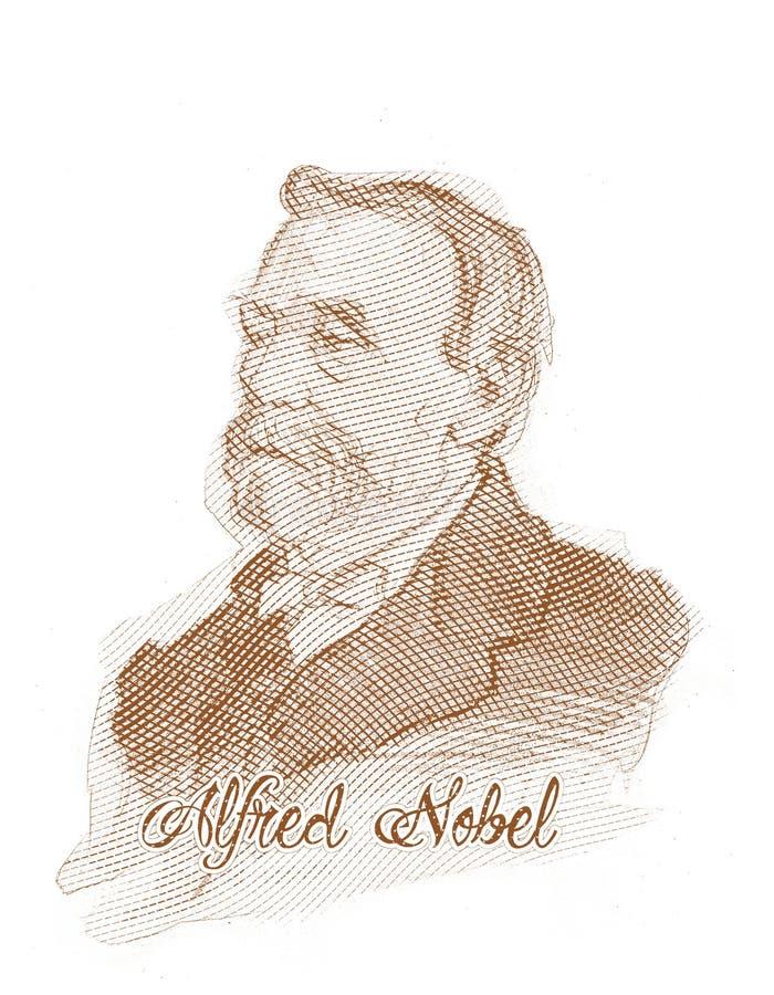 阿尔弗莱德诺贝尔板刻样式草图纵向 库存例证