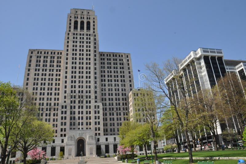 阿尔弗莱德E 史密斯大厦在阿尔巴尼、纽约和一个商务广场 库存图片