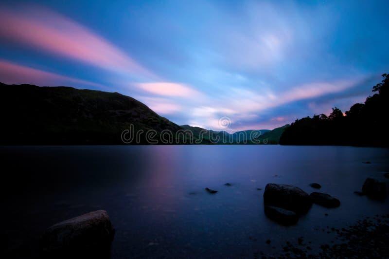 阿尔斯沃特湖日落 库存图片