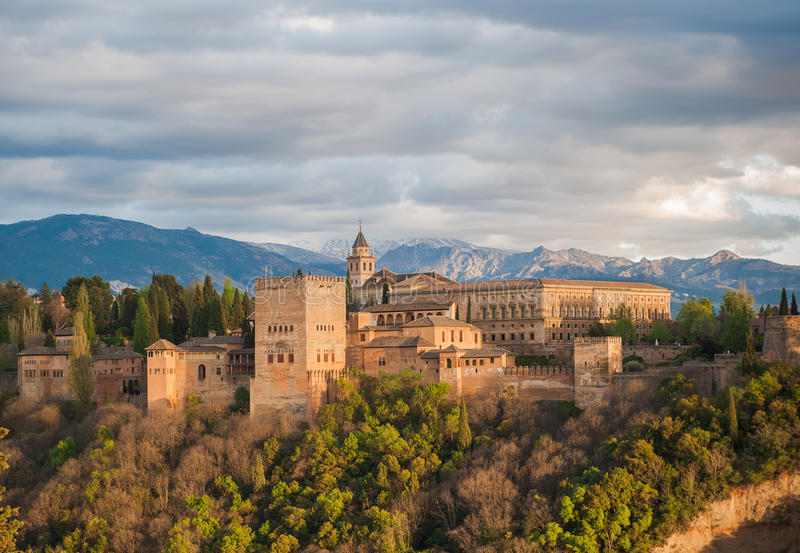 阿尔汉布拉格拉纳达宫殿全景西班牙视图 库存照片