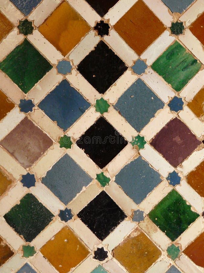 阿尔汉布拉格拉纳达西班牙铺磁砖墙&# 免版税库存图片