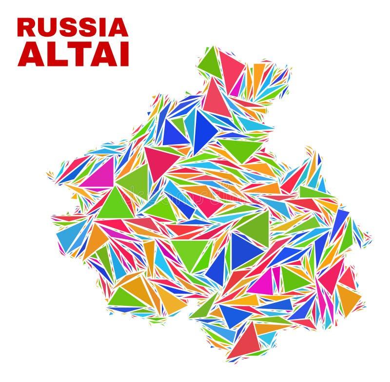 阿尔泰共和国地图-颜色三角马赛克  库存例证