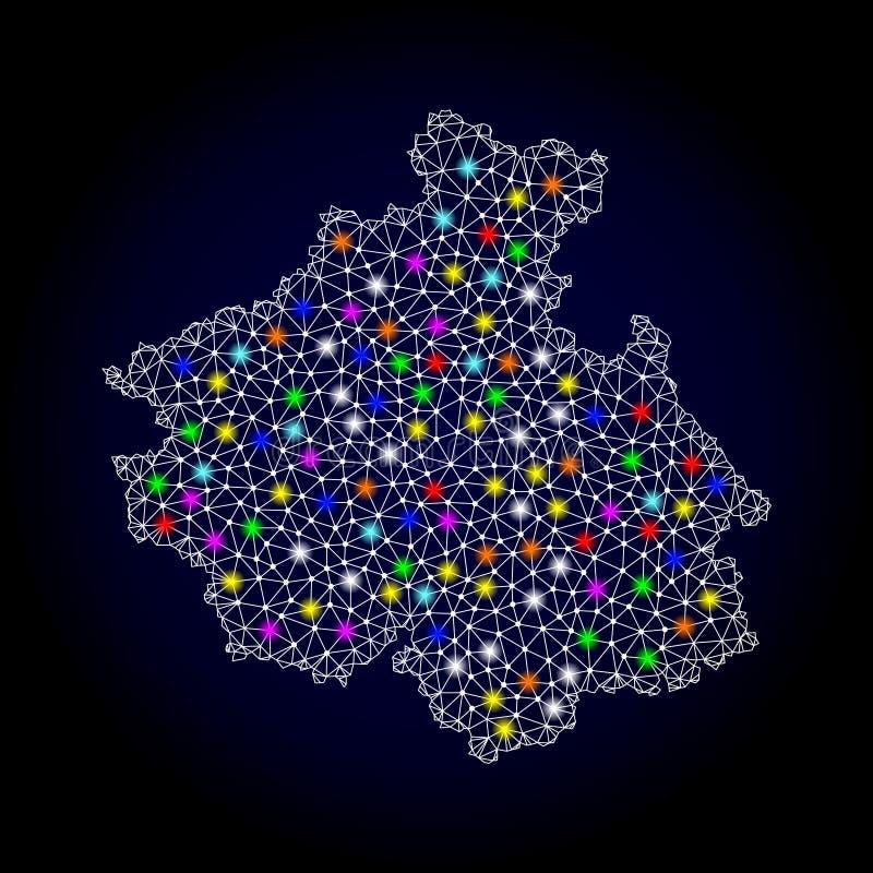 阿尔泰共和国滤网多角形地图有五颜六色的亮点的 库存例证
