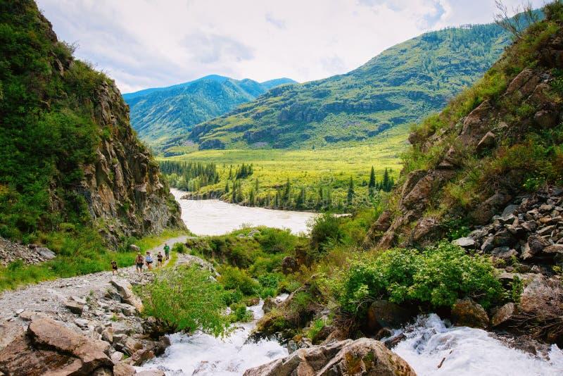 阿尔泰山卡通河和瀑布的本质在西伯利亚在俄罗斯 免版税库存图片
