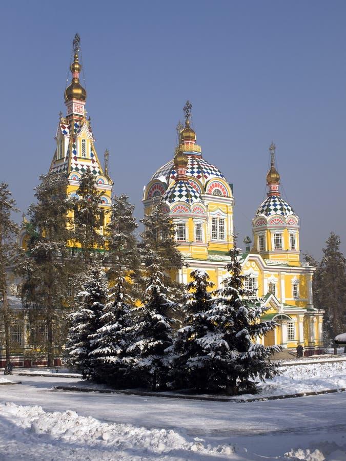 阿尔玛蒂上生大教堂卡扎克斯坦 免版税库存图片