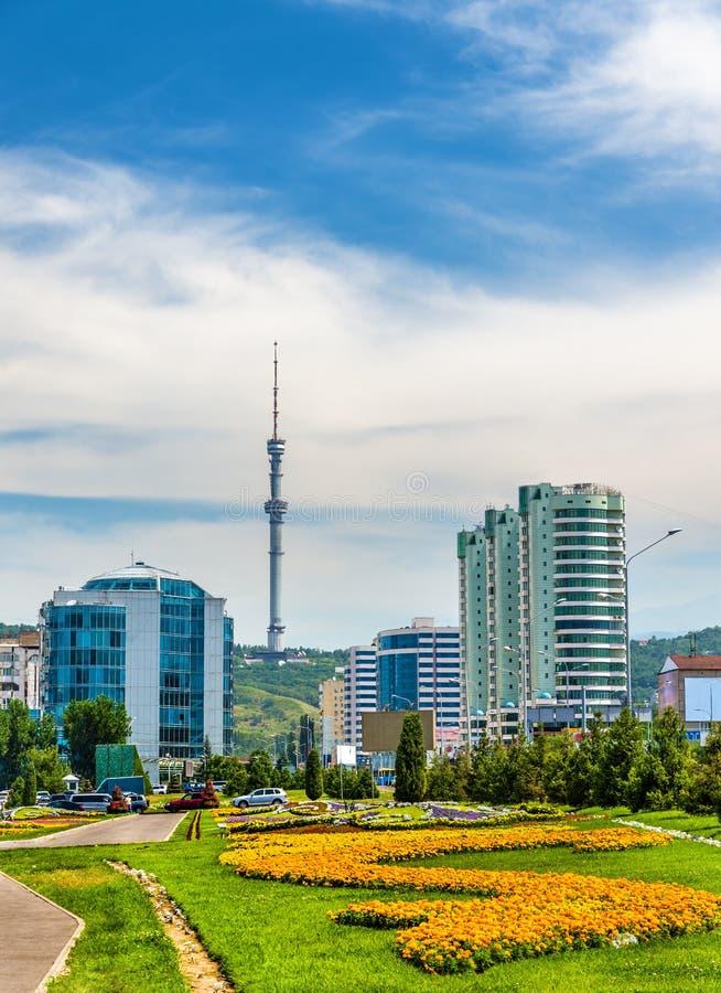阿尔玛蒂电视塔的看法在Kok Tobe山-哈萨克斯坦的 库存照片