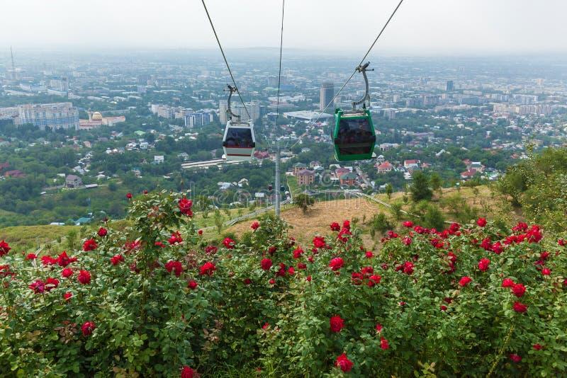 阿尔玛蒂从Koktobe小山的市视图 免版税图库摄影