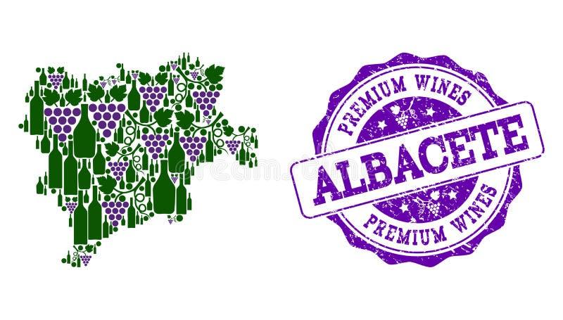 阿尔瓦萨特省葡萄酒瓶地图拼贴画和优质酒盖印 皇族释放例证