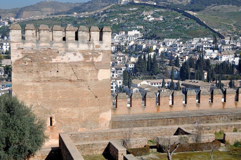 阿尔罕布拉宫宫殿塔在格拉纳达 免版税库存图片