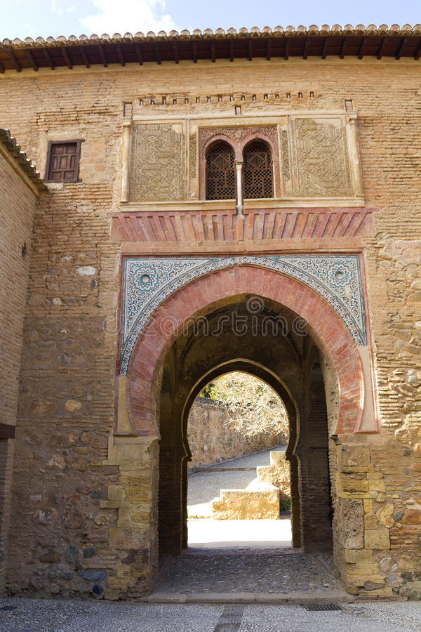 阿尔罕布拉宫宫殿酒塔,在格拉纳达,安大路西亚,西班牙 库存图片