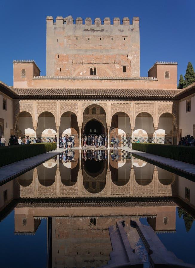 阿尔罕布拉宫格拉纳达西班牙宫殿Nazaries,在水镜子的对称反射  免版税图库摄影