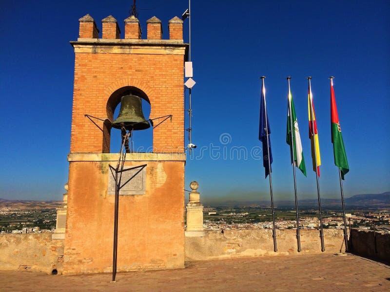 阿尔罕布拉宫殿,格拉纳达,西班牙-钟楼 图库摄影