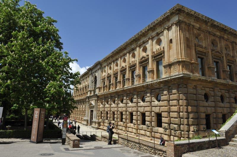 阿尔罕布拉宫,卡洛斯五世,格拉纳达,西班牙宫殿  库存图片