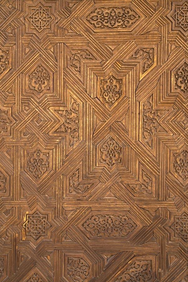 阿尔罕布拉的木被雕刻的装饰 图库摄影