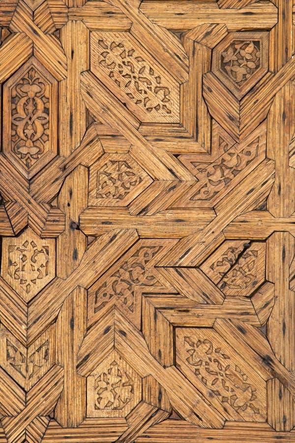 阿尔罕布拉的木被雕刻的装饰 免版税库存照片