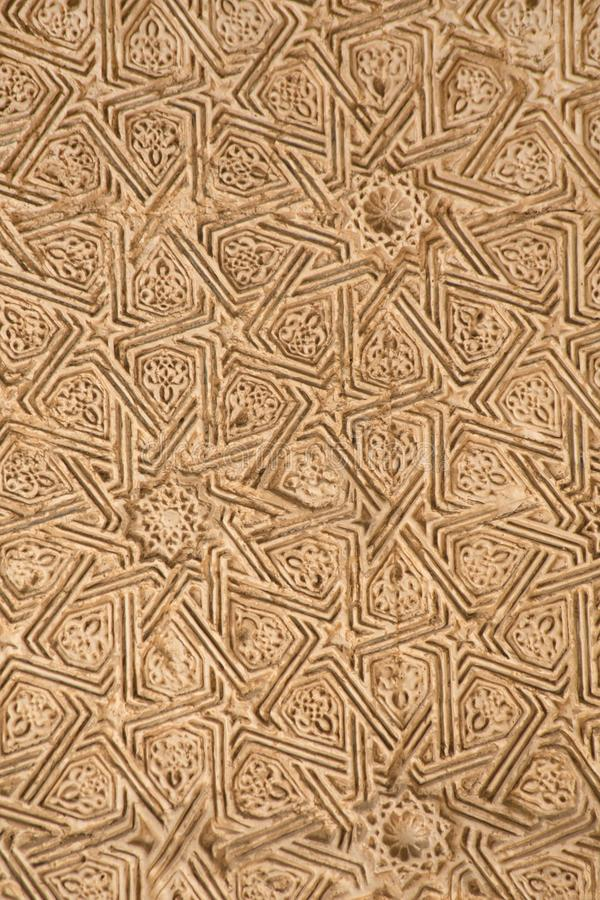 阿尔罕布拉的木被雕刻的装饰 免版税图库摄影
