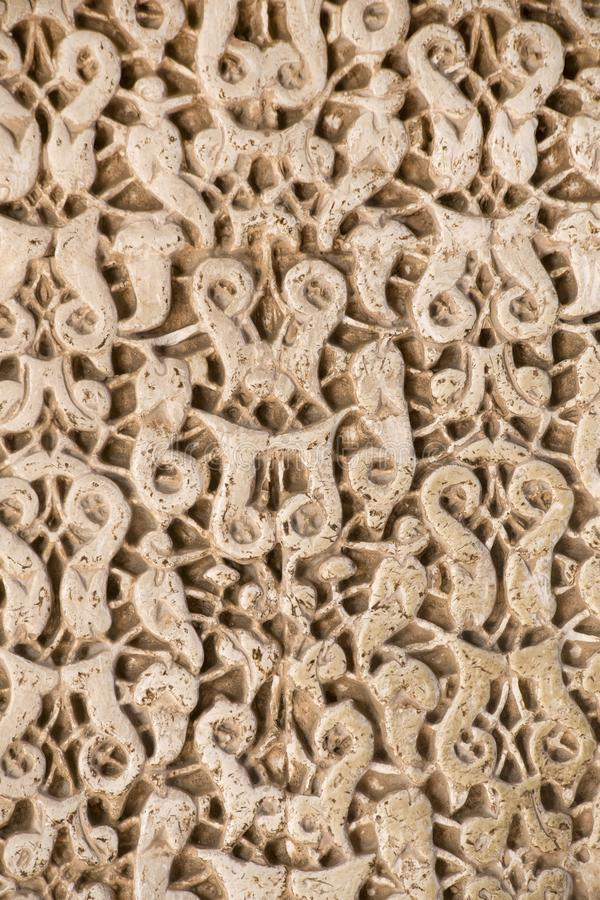 阿尔罕布拉的木被雕刻的装饰 库存图片