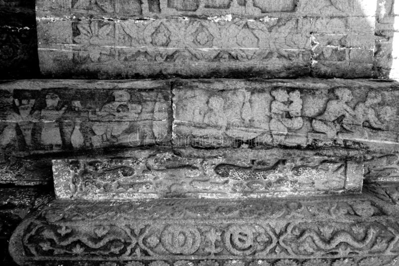 阿尔莫拉老废墟有卡玛Sutra雕刻的 库存图片