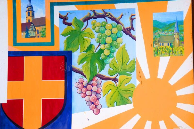 阿尔萨斯绘画墙壁酒 库存图片