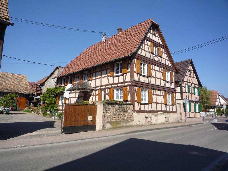 1267200208阿尔萨斯,法国,老城市房子 库存照片