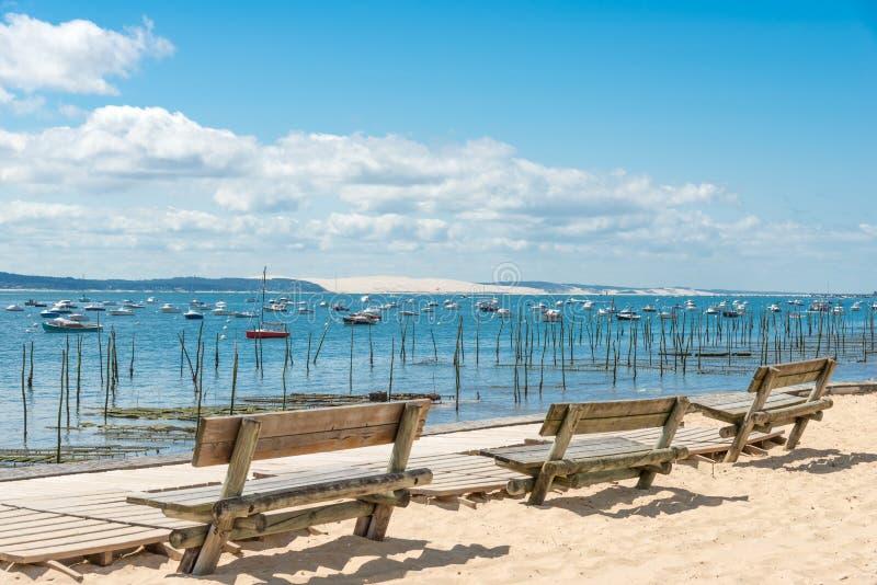 阿尔雄海湾,法国,在Pyla沙丘的看法  库存照片