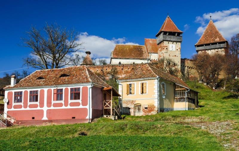阿尔马vii中世纪村庄,特兰西瓦尼亚,罗马尼亚 库存照片