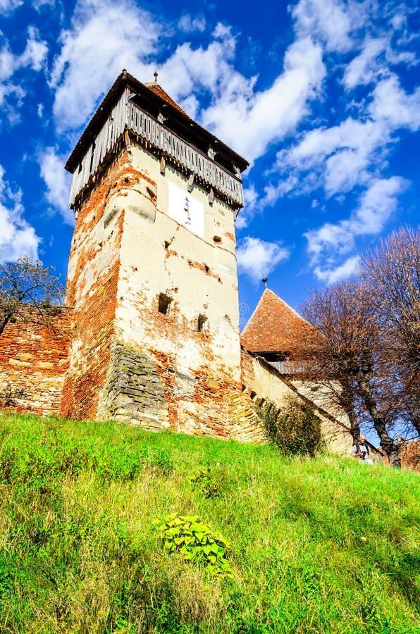 阿尔马vii教会,特兰西瓦尼亚,罗马尼亚 免版税库存图片
