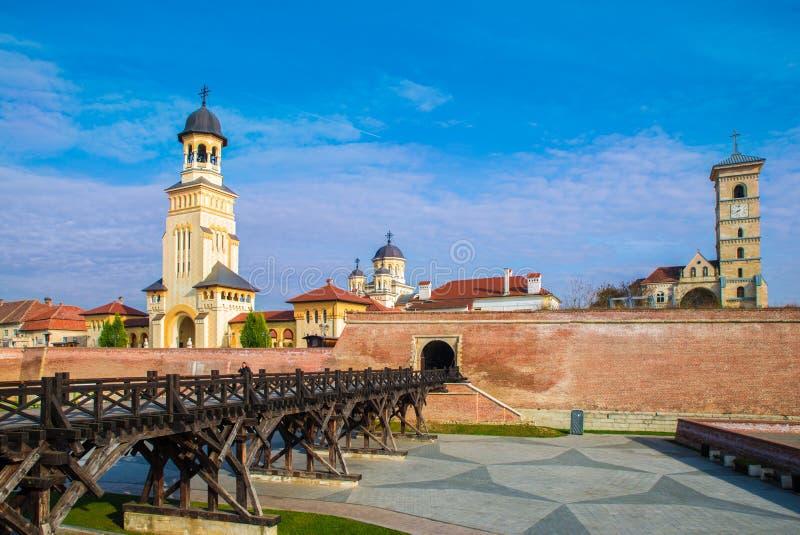 阿尔巴尤利亚,特兰西瓦尼亚,罗马尼亚堡垒  库存图片