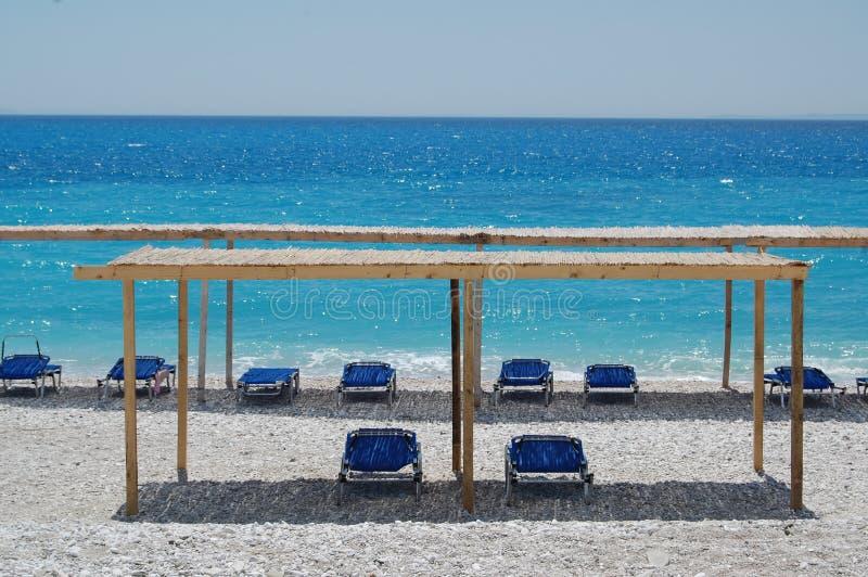 阿尔巴尼亚,离子海, Borsh海滩 库存照片