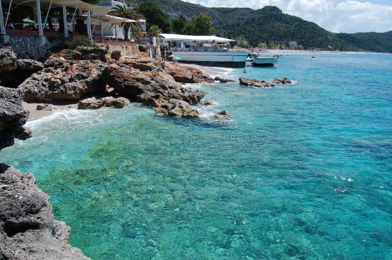 阿尔巴尼亚,离子海, Dhermi海滩 免版税库存图片