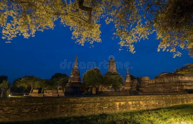 阿尤特拉利夫雷斯历史公园, wat mahathat佛教寺庙在Thail 库存图片