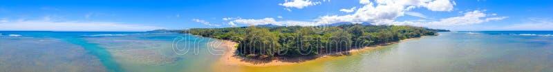 阿尼尼海滩考艾岛360空中全景 免版税图库摄影