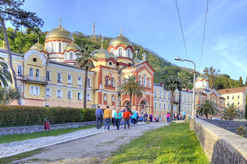 阿布哈兹 新阿丰奋锐党的西门修道院 免版税库存图片