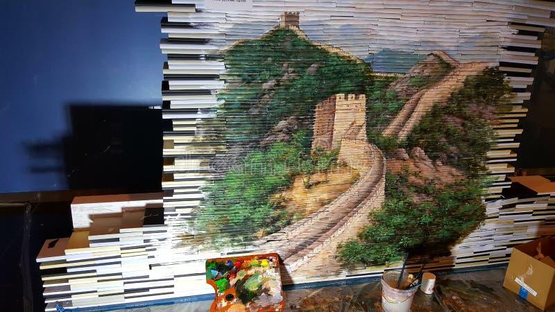 阿布扎比书市2017年中国壁画 库存图片