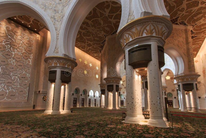 阿布扎比全部内部清真寺回教族长阿拉伯联合酋长国zayed 免版税库存照片