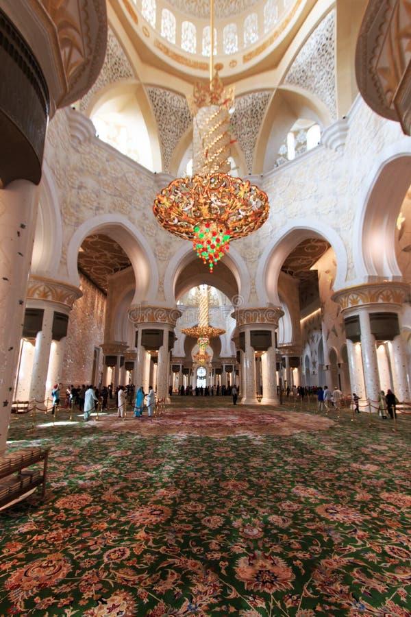 阿布扎比全部内部清真寺回教族长阿拉伯联合酋长国zayed 免版税库存图片